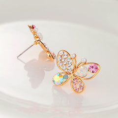 Colorful Crystal Simulated Pearl Butterfly Stud Earring - BoardwalkBuy - 3