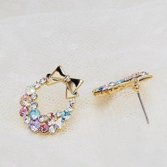 Colorful Rhinestone Bow Stud Earrings - BoardwalkBuy - 2