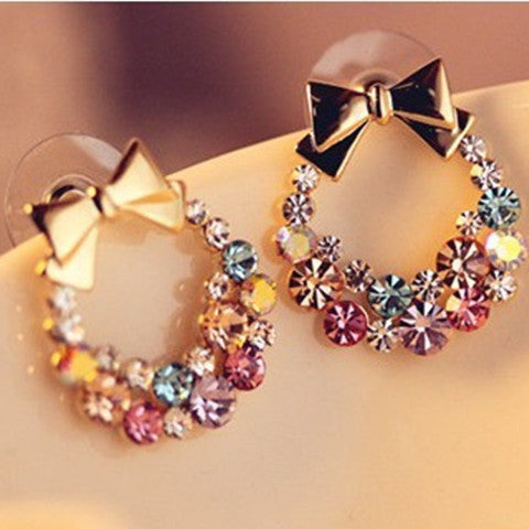 Colorful Rhinestone Bow Stud Earrings - BoardwalkBuy - 1