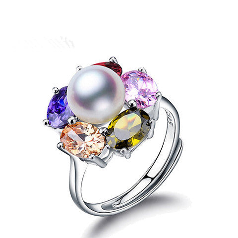 Colorful Ruby Zirconia Silver Pearl Adjustable Ring