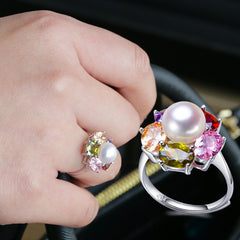 Colorful Ruby Zirconia Silver Pearl Adjustable Ring - BoardwalkBuy - 3