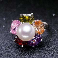 Colorful Ruby Zirconia Silver Pearl Adjustable Ring - BoardwalkBuy - 4