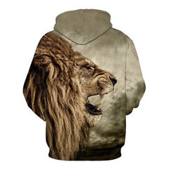 Cool 3D Lion Print Long Sleeves Men's Hoodie - BoardwalkBuy - 2