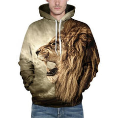 Cool 3D Lion Print Long Sleeves Men's Hoodie - BoardwalkBuy - 3