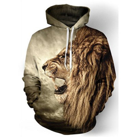 Cool 3D Lion Print Long Sleeves Men'S Hoodie