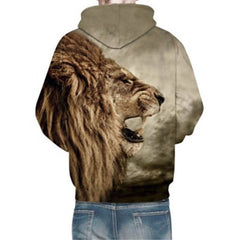Cool 3D Lion Print Long Sleeves Men's Hoodie - BoardwalkBuy - 4