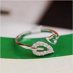Couple Leaves Crystal Drill Lover Ring - BoardwalkBuy - 3