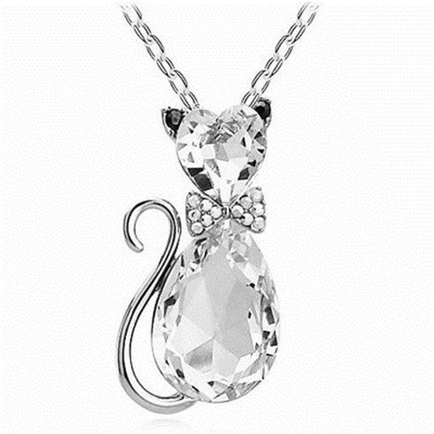 Crystal Cat Necklace - Ashley Jewels