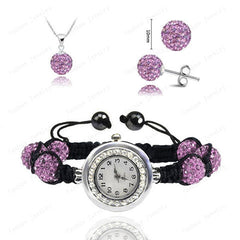 Crystal Necklace+Bracelet Watch+Earring Jewelry Set - BoardwalkBuy - 8