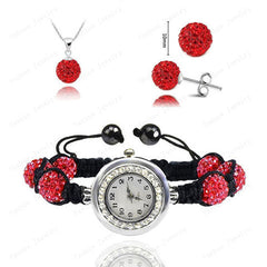 Crystal Necklace+Bracelet Watch+Earring Jewelry Set - BoardwalkBuy - 3
