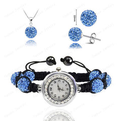 Crystal Necklace+Bracelet Watch+Earring Jewelry Set - BoardwalkBuy - 4