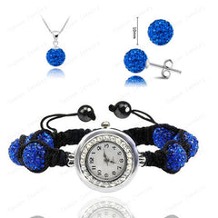 Crystal Necklace+Bracelet Watch+Earring Jewelry Set - BoardwalkBuy - 5
