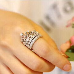 Crystal Rhinestone Crown Ring - BoardwalkBuy - 2
