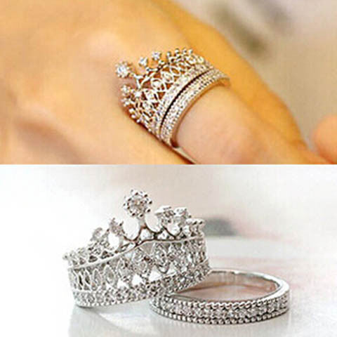 Crystal Rhinestone Crown Ring
