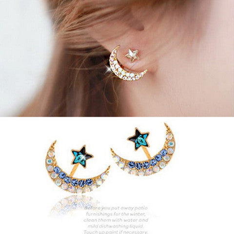 Crystal Rhinestone Moon Pentacle Earrings