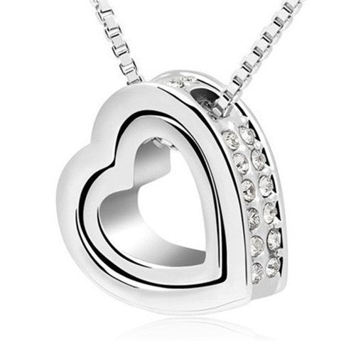 Crystal Rhinestones Floating Double Heart Pendant Necklace - BoardwalkBuy - 1