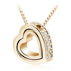 Crystal Rhinestones Floating Double Heart Pendant Necklace - BoardwalkBuy - 2