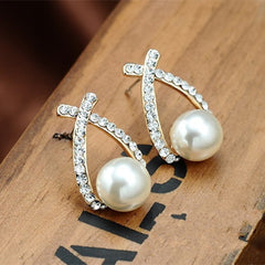 Crystal Stud Pearl Earring - BoardwalkBuy - 2