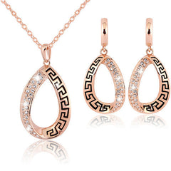 Crystal  Water Drop  Annular Necklace Earring Set - BoardwalkBuy - 1