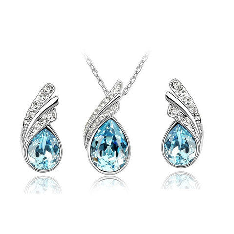 Crystal Water Drop Leaves Earrings Necklace Jewelry Sets - BoardwalkBuy
