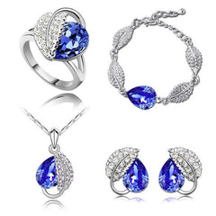 Crystal Wedding Heart Leaf Jewelry Set - BoardwalkBuy - 2