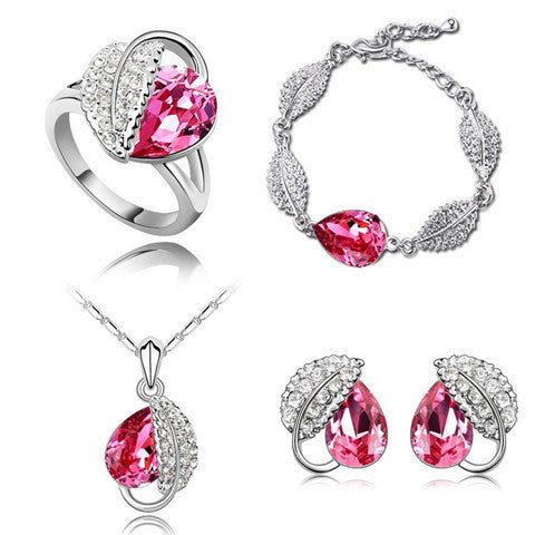 Crystal Wedding Heart Leaf Jewelry Set - BoardwalkBuy - 1