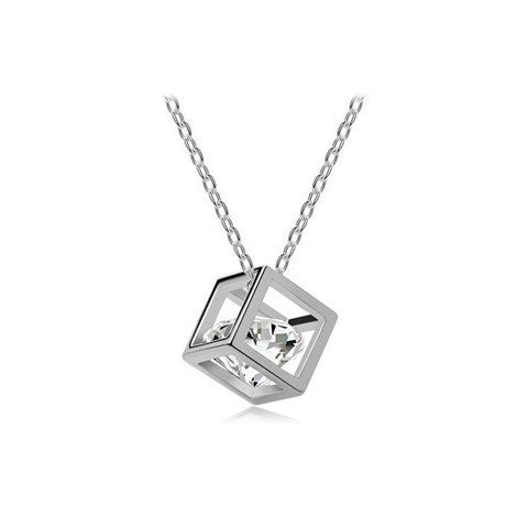 Cube Crystal Heart Zircon Necklace - BoardwalkBuy - 1
