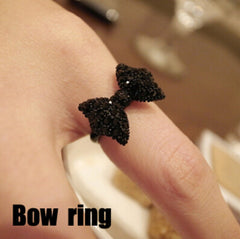 Cute Black Rhinestone Butterfly Bow Ring - BoardwalkBuy - 3