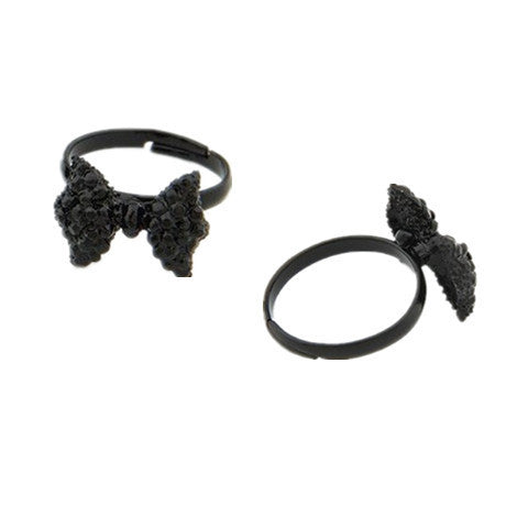 Cute Black Rhinestone Butterfly Bow Ring