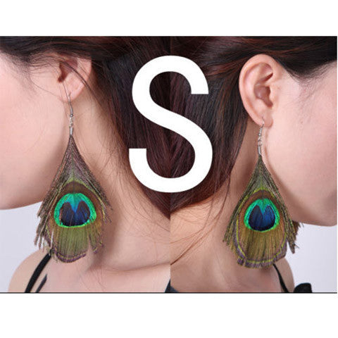 Cute  Peacock Feather  Dangle Style Earrings