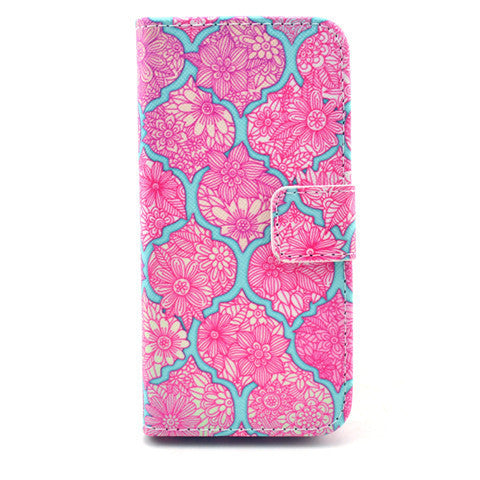 Pink Lace Stand Leather Case For Iphone 5S