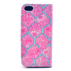 Pink lace Stand Leather Case For iPhone 5s - BoardwalkBuy - 3