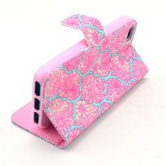Pink lace Stand Leather Case For iPhone 5s - BoardwalkBuy - 2