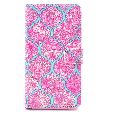 Pink lace Stand Leather Case For Samsung note4 - BoardwalkBuy - 1