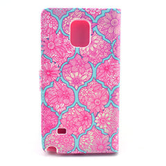 Pink lace Stand Leather Case For Samsung note4 - BoardwalkBuy - 3