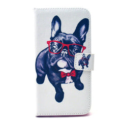 Glasses Dog Stand Leather Case  For  Samsung S6 - BoardwalkBuy - 1
