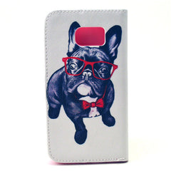 Glasses Dog Stand Leather Case  For  Samsung S6 - BoardwalkBuy - 4