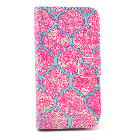 Pink lace Stand Leather Case For Samsung S4 - BoardwalkBuy - 1