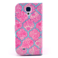 Pink lace Stand Leather Case For Samsung S4 - BoardwalkBuy - 2