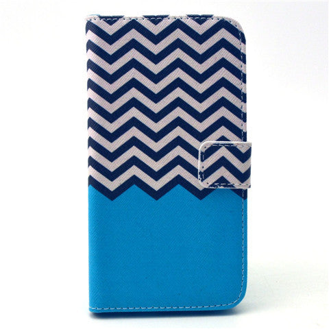 Blue Waves Stand Leather Case For Iphone And Samsung