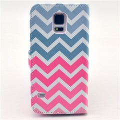 Pink waves Stand Leather Case For Samsung S5 - BoardwalkBuy - 3