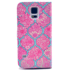 Pink lace Stand Leather Case For Samsung S5 - BoardwalkBuy - 3