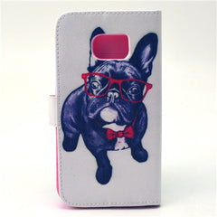 Glasses Dog Stand Leather Case For Samsung S6 Edge - BoardwalkBuy - 4