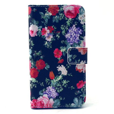 Black Flower Stand Leather Case For Samsung S6