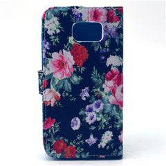 Black Flower Stand Leather Case For Samsung S6 - BoardwalkBuy - 4