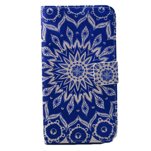Blue Sunflower Stand Leather Case For Samsung S6