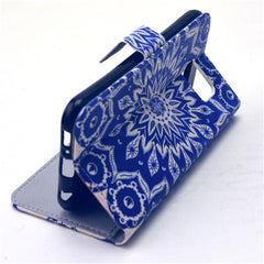 Blue Sunflower Stand Leather Case For Samsung S6 - BoardwalkBuy - 2