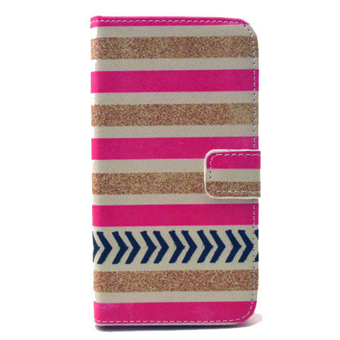 Gold stripes Stand Leather Case For Samsung S5