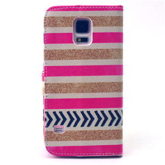 Gold stripes Stand Leather Case For Samsung S5 - BoardwalkBuy - 3