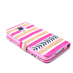 Gold stripes Stand Leather Case For Samsung S5 - BoardwalkBuy - 4